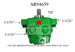 Hydraulics - Pumps - AR94659 - for John Deere HYDRAULIC PUMP